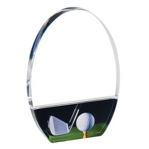 "Acrylic Freestanding Golf Plaque with Printed Club, Ball and Tee, Large (5-1/2""x8"")"
