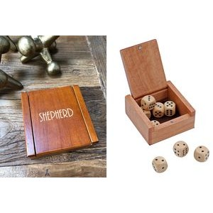 Wooden Dice Box w/ 8 Wooden Dice