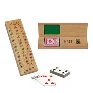 Cabinet Cribbage Set-Solid Wood 3 Track Board w/Brass Pegs