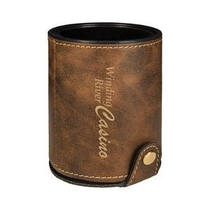 Rustic & Gold Leatherette Dice Cup w/ 5 Dice