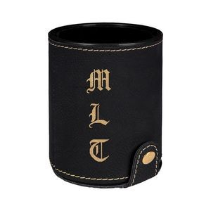 Black & Gold Leatherette Dice Cup w/ 5 Dice