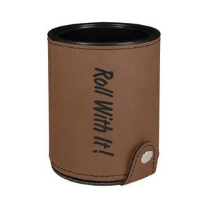 Dark Brown Leatherette Dice Cup w/ 5 Dice