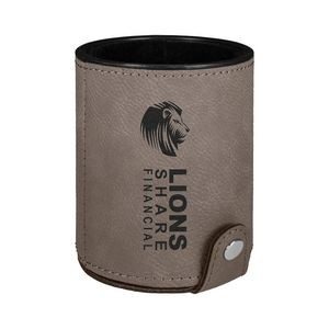 Gray Leatherette Dice Cup w/ 5 Dice