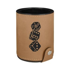 Light Brown Leatherette Dice Cup w/ 5 Dice